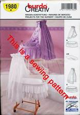BURDA SEWING PATTERN 1980 BABY BASSINETTE, CRADLE LINER, VALANCE & CANOPY/VEIL