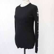 Aqua 2-Ply 100% Cashmere Knit Soft Warm Crew Neck Black Stars Sweater Small
