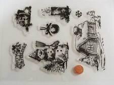 7 tampons plastique transparent Clear Stamps NOEL HIVER Planche 20x15cm MOD4