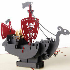3D Pop Up Card Pirate Ship Children's Day Thank You Birthday Christmas Greeting