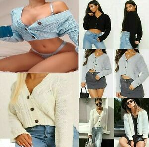 New Women Chunky Cable Knitted Cardigan 3 Button Long Sleeve Crop Top Short Vest