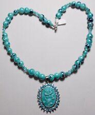 """16.75"""" necklace, aqua-blue glass beads + cameo pendant"""