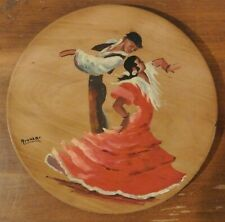 Vintage Flamenco Oil Painting Wood Plate Signed Made in Spain