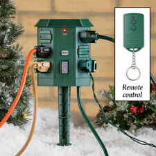 6 Outlet Power Stake w/ Remote For Outdoor Christmas Lights Decorations