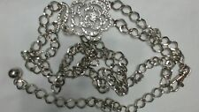 "Vintage Silvertone Rhinestone Rose Chain Belt, Approx 50"" Wearable"