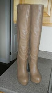 Colin Stuart Stiletto Knee High Heels Tan Womens Size 10 B Shoes Platform