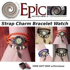 EPIC TIME- Retro Leather Quartz Band Watch-Leaf Bracelet