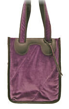 New NIKE Womens Vintage Leather & Velvet Expandable SHOULDER TOTE BAG Purple