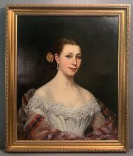 19thC Antique Regency Era Lady Portrait Old Victorian Estate Oil Painting Frame