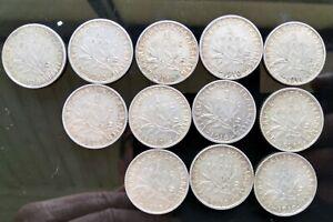 12 pièces de 1 franc semeuse (argent) de 1898 à 1919 TBE voir photos