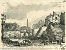 Paris Rue Portalis Eglise Saint-Augustin Bd Malesherbes GRAVURE OLD PRINT 1868
