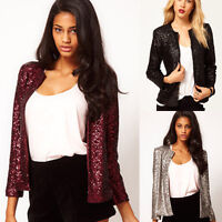 Women's Sequins Coat Cardigan Open Front Short Jackets Long Sleeve Fashion Tops