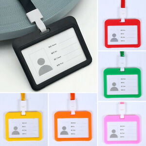 Neck ID Holder Card Holders Office Business Work Lanyard Case Holders Durable1PC