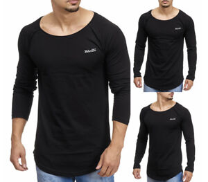 MADDU Herren Langarm Schwarz Black T-Shirt  Longsleeve Oversize Round Basic NEU