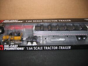 DCP 1:64 Scale Yellow and Black Peterbilt Cab with Wilson Grain Trailer 33288
