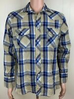 Wrangler Mens Western Shirt Medium 75204PP Pearl Snap Blue Brown Plaid Thin