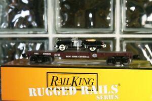 O Scale 33-7608 Rail King Rugged Rails New York Central Flat Car w/ '49 Cadillac