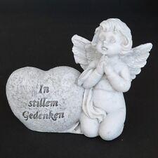 """Grabschmuck Grabengel mit Herz """"In stillem Gedenken"""" Trauerengel Grabdeko Engel"""