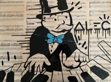 "Original Signed Alec Monopoly ""Piano Man"" Canvas Painting With COA"