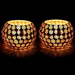 Unique Beads Design Decorated Tealight Holder Candle Light Holder - Set Of 2