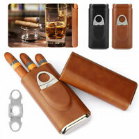 Portable Humidor Cigar Case Travel Cigar Box Pocket Holder Leather + Cutter