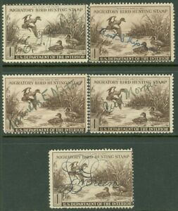 EDW1949SELL : USA 1942 Scott #RW9. 5 stamps. Used. All Sound. Retail