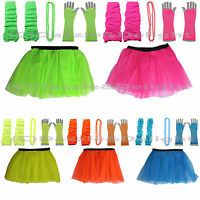 NEON FANCY DRESS TUTU GLOVES LEG WARMERS AND BEADS 1980S HEN PARTY COSTUME 80 UV