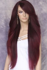 Extra Long Lace Front Wig Full Black Burgundy Mix Heat OK Feathered WBPC 1B-Burg