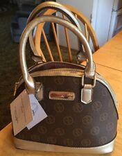 $168 NWT Adrienne Vittadini Dome Satchel Crossbody Handbag Brown Gold Purse