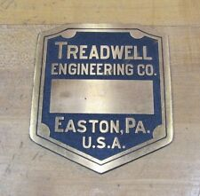 Old Brass TREADWELL Engineering Co Easton Pa USA Plaque Nameplate Equipment Sign