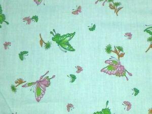 Vtg Cotton Fabric Mint Green W/ Pink Green Butterflies Schwartz Liebman 44x3yds