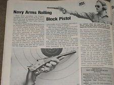 NRA TESTS THE NEW NAVY ARMS ROLLING BLOCK PISTOL