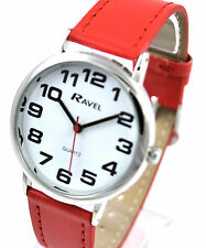 Ravel Mens Ladies Bold BIG Number Watch with BIG Face and Extra LONG Red Strap