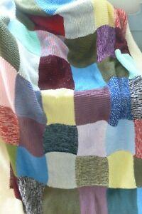 Handmade vintage style knitted granny wool blanket sofa bench throw campervan