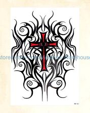 "US Seller-fake tattos totem cross 8.25"" large arm tattoo temporary"