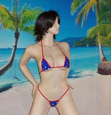 WOW 2pc mini micro g-string bikini,sexy, Hot FUN, adj top USA made patriotic S/M