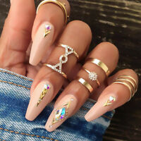 5Pcs Crystal Women Gold Above Knuckle Fashion Finger Ring Band Midi Rings Set