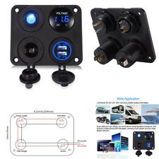Car Control Panel 4in1 Voltmeter+Dual USB SOCKET+Switch+Power Outlet 6-24V LED