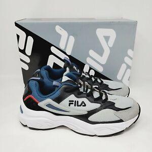 FILA Men's Recollector Trail Sneaker Shoes Size 8.5 Grey / Black / Blue Genuine