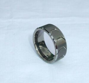 Mens 8MM Tungsten Carbide Ring - Gunmetal Tire Tread Center/Bevel Edge Band~Sz 8