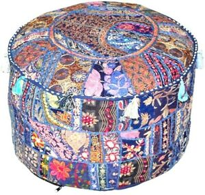 Ottoman Multicolor Patchwork Hassock Pouffe Handmade Foot Stool Cover