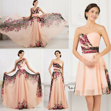 Long/ Short Floral Bridesmaid Evening Gowns Wedding Formal Party Prom Dress 6-20