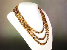 36 Inch Long Natural 8mm Yellow Tiger's Eye African Gemstone Beads Necklace