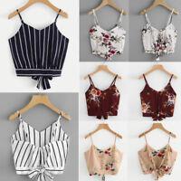 Women Ladies Sleeveless Crop Top Vest Tank Shirt Loose Chiffon Blouse Cami Tops