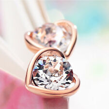 14k Rose Gold plated Rhinestone Diamond Simulant Crystals Love Heart Earrings