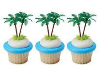 Plastic Palm Trees Tropical Tiki cupcake picks (24) favor cake topper 2 dozen