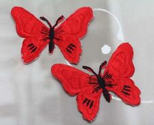 New 2pcs Red Butterflies Embro