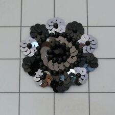BLACK GUNMETAL SEQUIN BEADED FLOWER APPLIQUE  2423-D