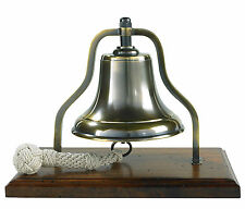 "Ship's Purser's Bell Brass 9.5"" Bronzed Antiqued Finish Tabletop Wood Stand New"