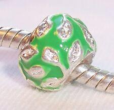 Green Enamel Vine Leaves Silver Plated Spacer Bead fits European Charm Bracelets